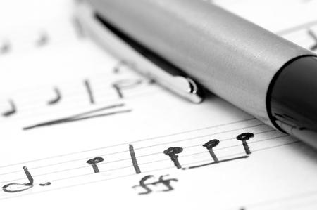 musically: Handwritten notation  Stock Photo