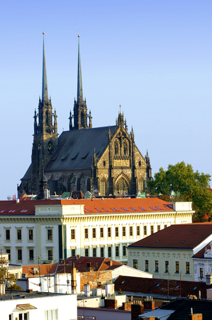 histories: View of the Cathedral of Peter and Paul in Brno , Czech Republic  Stock Photo