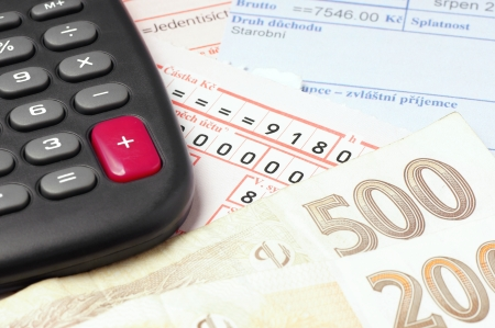 Counting and paying bills with Czech money