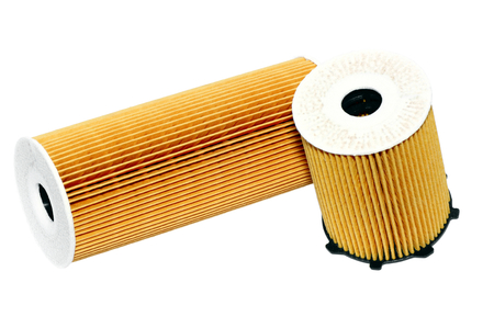 Automotive oil filter-cartridge filter on a white background  photo