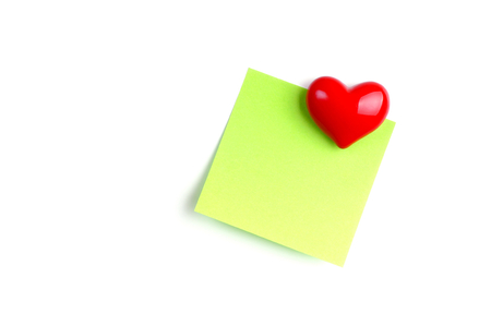 adherent: Notepaper adherent magnetic heart  Stock Photo