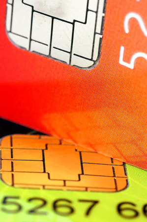 Two credit card chip Stock Photo - 23649784