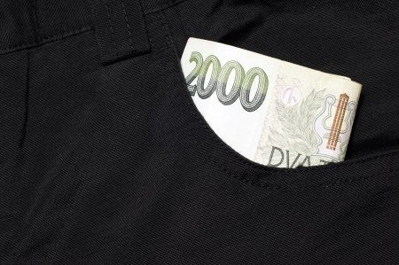 Money in your pocket black pants-two thousand Czech crowns Imagens
