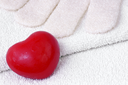 washcloth: Heart Soap on a towel with washcloth