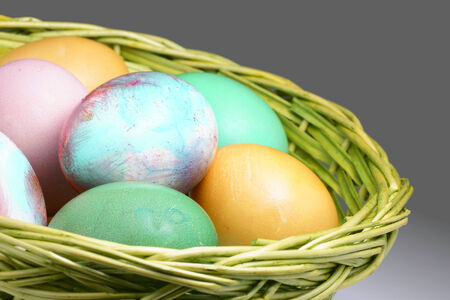naturally: Naturally dyed Easter eggs in the green wicker basket