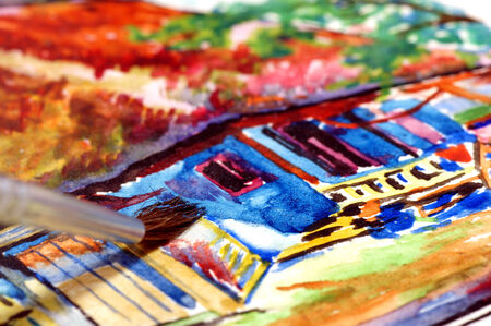 creative arts: Picture of house painted watercolors