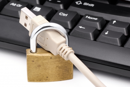 safeguarded: Computer cable and lock  Stock Photo