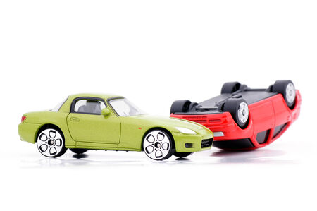 toyshop: Collision of two car models  Stock Photo