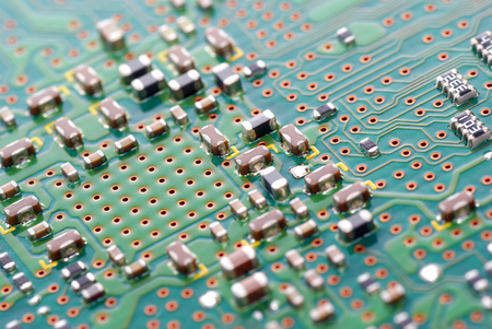 modulus: Closeup green printed circuit electronic devices