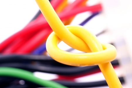 botch: Knot in the electrical wire Stock Photo