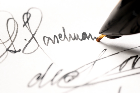 Personal signature signed in ink pen  Stock Photo