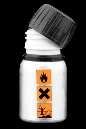 マーク警告サイン危険物液体ボトルを開きます 写真素材