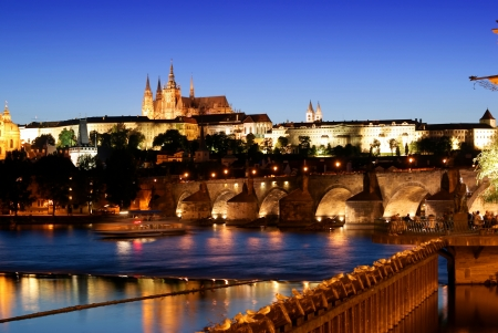 View of evening Prague,Prague castle,Charles bridge Czech