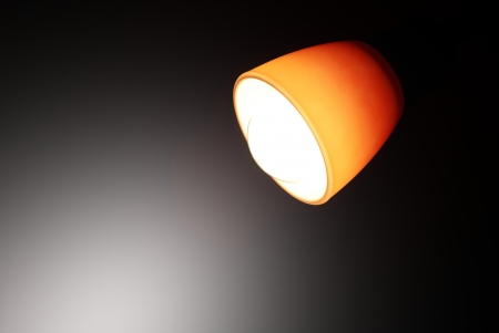 energetically: Home lamp light in the dark  Stock Photo