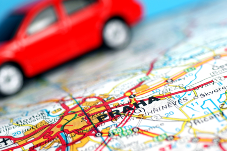 journeying: City of Prague on the map,car background