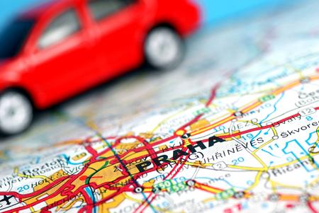 symbolization: City of Prague on the map,car background