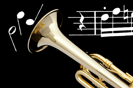 Trumpet and sheet of music  Stock Photo