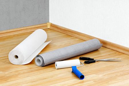 壁紙、ローラー、床に横たわってはさみ 写真素材