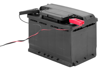 electronically: Charging the car battery  Stock Photo