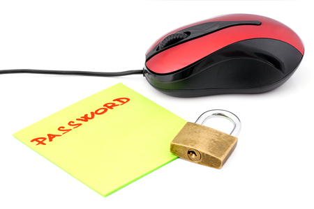 Hand written word password in which is placed the lock and computer mouse  photo