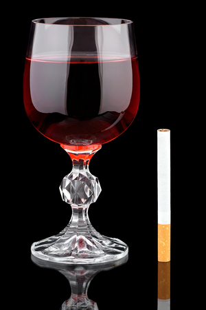 Red wine and cigarette. 写真素材