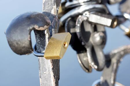 locked: Locked padlock on the gate historical monuments.