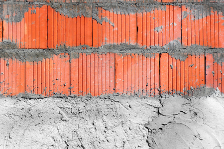 housing lot: Close up on the wall-structural work. Stock Photo