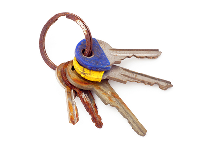 unneeded: Found rusting old house keys. Stock Photo