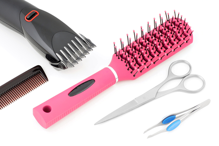 hair clippers: Hairdressing things for hair styling comb hairelectric clippers and tweezer.