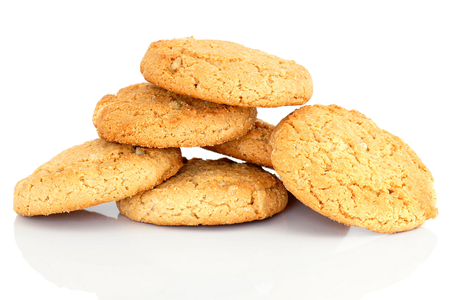 energetically: Pile of biscuits isolated on white background. Stock Photo