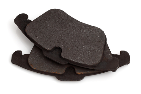worn: Worn brake pads for automobiles.