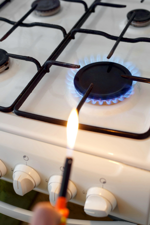 ignited: Gas stove flame after ignition.