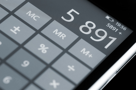mathematically: Counting on calculator display smartphone.