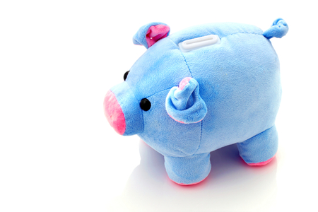 outgoings: Money box piggy on white background. Stock Photo