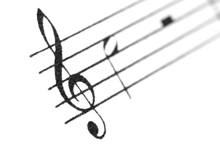 Musical notes and treble clef. Stock Photo