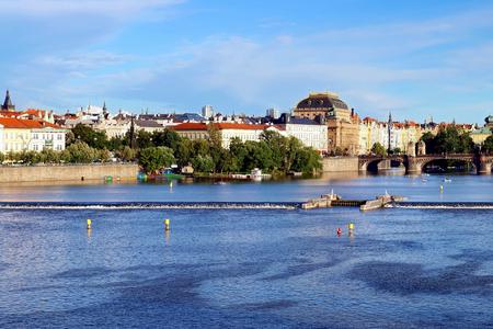 Prague Czech Republic -view across the Vltava river to the National theater. Stock Photo