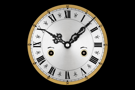 stretchy: Stretchy clock with roman numerals isolated on a black background.