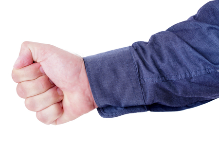 Hand of a man given a fist isolated on white background.