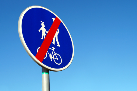 Traffic sign end of the trail for Cyclists and Pedestrians.