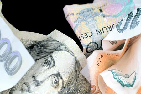monies: Closeup of crumpled bills Czech Republic.