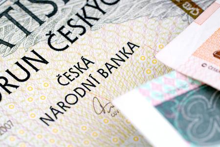 monies: Close-up of banknotes Czech Republic-crown.