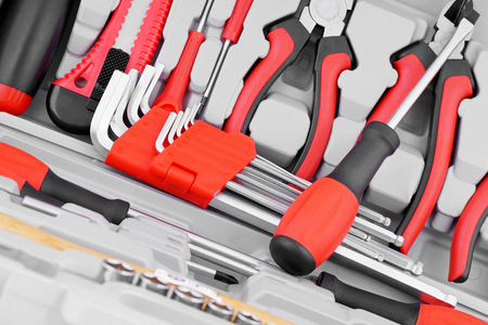 Close-up of a set of hand tools. Stock Photo