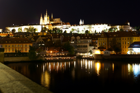 View of St. Vitus Cathedral and Prague Castle from Charles Bridge - Czech Republic. Editorial