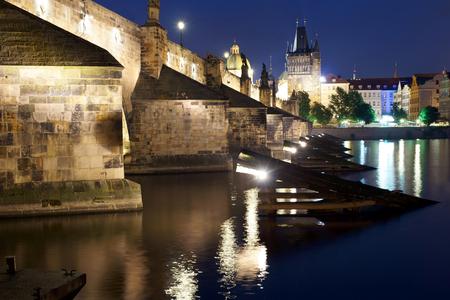 Charles Bridge at night-Prague Czech Republic.