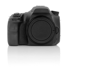 Digital single-lens reflex camera isolated on white background.