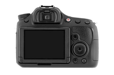 Digital SLR camera isolated on white background.