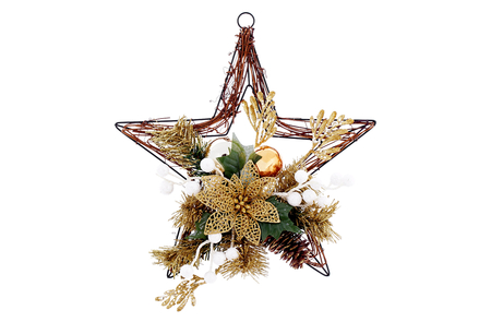Christmas hanging star isolated on white background.