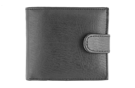 Black wallet on white background.