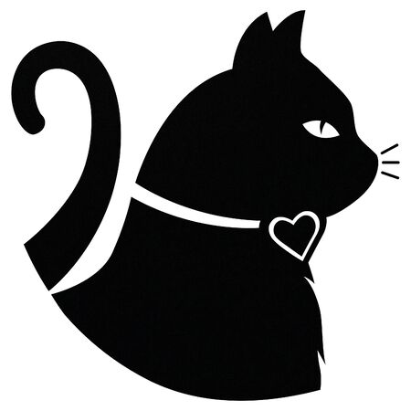 black cat profile Stock Photo