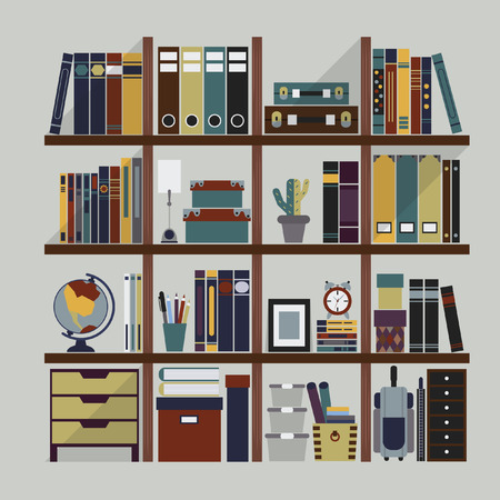 book case: Wooden bookshelf with various study and office objects on gray background and shadow